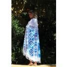 Mycha Ibiza – roundie – rond strandlaken – aztec 2 – blauw – 100% katoen – badstof