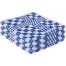 6x Handdoek blauw met blokmotief 50 x 50 cm - Huishoudtextiel - keukendoek / handdoekjes